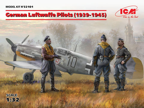 ICM Aircraft 1/32 WWII German Luftwaffe Pilots 1939-1945 (3) (New Tool) Kit