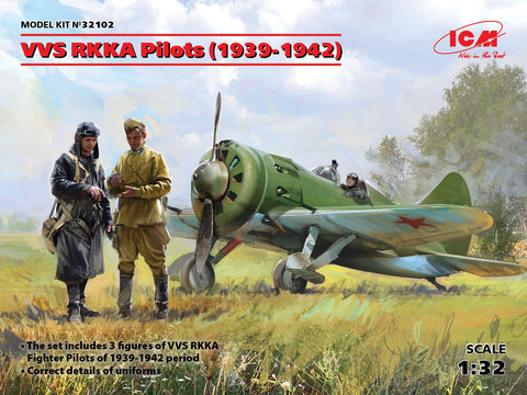 ICM Aircraft 1/32 WWII Soviet Air Force (VVS RKKA) Pilots 1939-1942 (3) (New Tool) Kit
