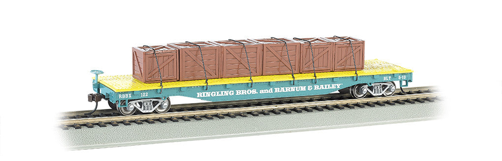 Bachmann HO Flat Car w/Crate Load, Ringling Bros/Blue Car #122