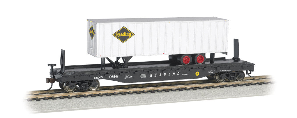 "Bachmann HO 52' 6"" Flat Car Reading w/ 35' Trailer, Reading"
