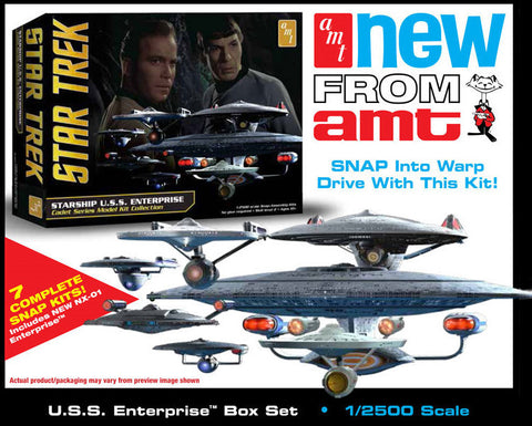 AMT Sci-Fi Models 1/2500 Star Trek USS Enterprise Box Set Snap Kit
