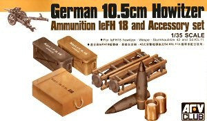 AFV Club Military 1/35 German 10.5cm Howitzer Ammo & Accessory Set Kit