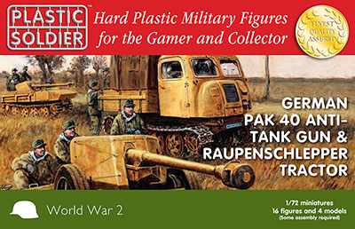 Plastic Soldier 1/72 WWII German Pak40 Anti-Tank Gun & Raupenschlepper Tractor (2ea) w/Crew (16) Kit