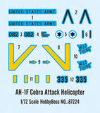 Hobby Boss Aircraft 1/72 AH-1F Cobra Attack Copter Kit