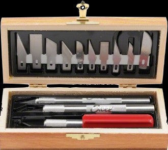 Excel Tools Hobby Knife Set: 3 Knives & 13 Blades (Wooden Box)