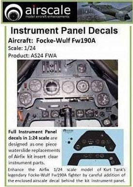 Airscale Details 1/24 Focke Wulf Fw190A Instrument Panel (Decal)