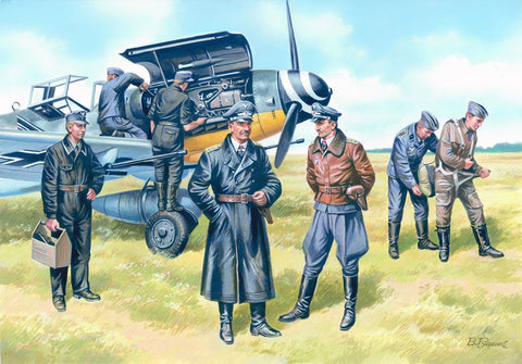 ICM Aircraft 1/48 Luftwaffe Pilots & Ground Personnel 1939-45 (7 Figures) Kit
