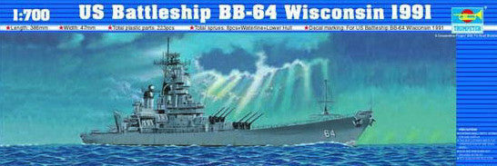 Trumpeter Ship Models 1/700 USS Wisconsin BB64 Battleship 1991 Kit