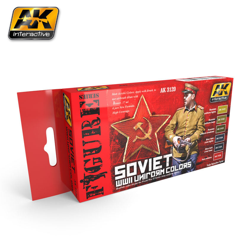 AK Interactive Figure Series: Soviet WWII Uniform Colors Acrylic Paint Set (6 Colors) 17ml Bottles