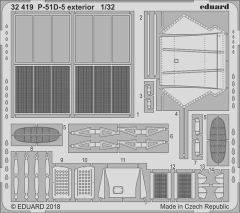 Eduard Details 1/32 Aircraft- P51D5 Exterior for Revell Germany Kit