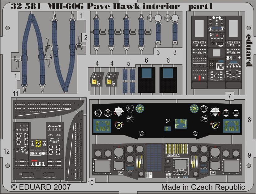 Eduard Details 1/35 Aircraft- MH60G Pave Hawk Interior for ACY (Painted)