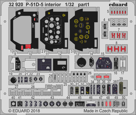 Eduard Details 1/32 Aircraft- P51D5 Interior for Revell Germany Kit (Painted)