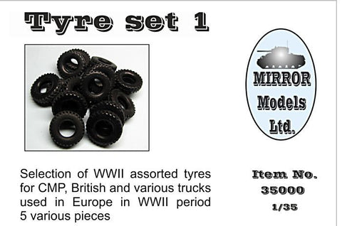 Mirror Models Military 1/35 Assorted Tires Set 1 for WWII CMP/British Trucks (5) Kit