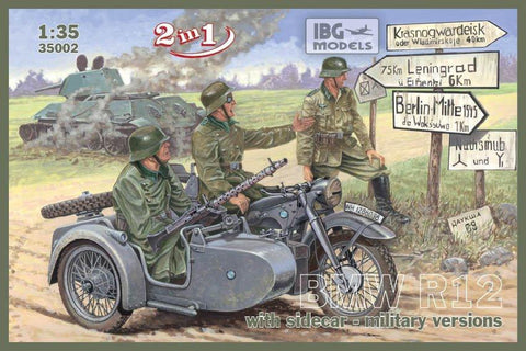 IBG Military Models 1/35  Military BMW R12 Motorcycle w/Sidecar (2 in 1) Kit