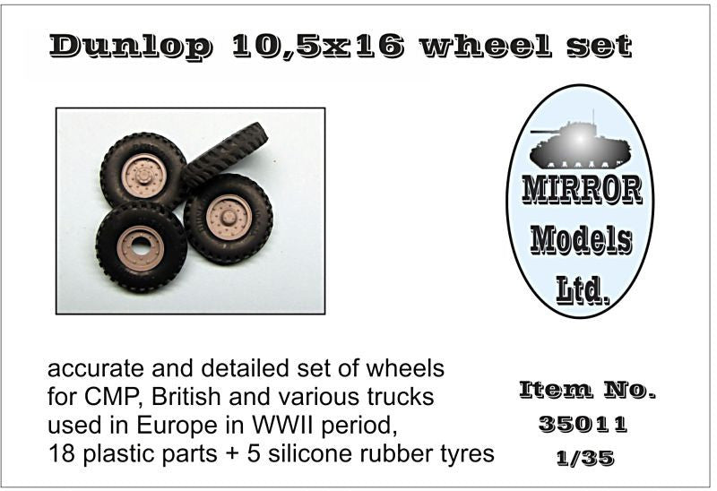 Mirror Models Military 1/35 Dunlop 10 5x16 Wheel/Tire Set for WWII CMP/British Trucks (5) Kit