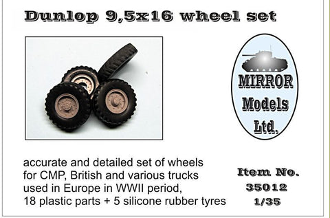 Mirror Models Military 1/35 Dunlop 9 5x16 Wheel/Tire Set for WWII CMP/British Trucks (5) Kit