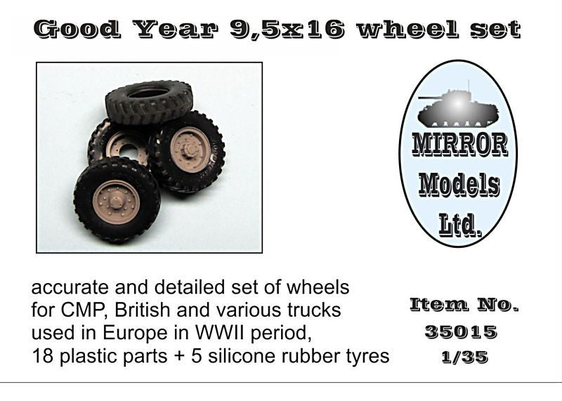 Mirror Models Military 1/35 Goodyear 9 5x16 Wheel/Tire Set for WWII CMP/British Trucks (5) Kit