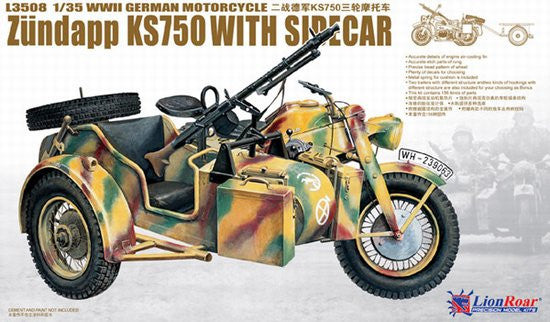 Lion Roar Military 1/35 WWII German Zundapp KS750 Motorcycle w/Sidecar Kit