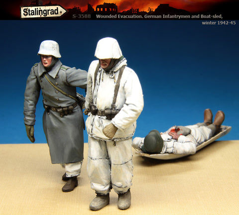 Stalingrad 1/35 Wounded Evacuation 3 German winter figures and boat-sled