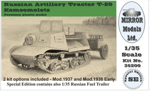 Mirror Models Military 1/35 Russian Artillery Tractor T20 Komsomoletz Early w/Fuel Trailer Kit