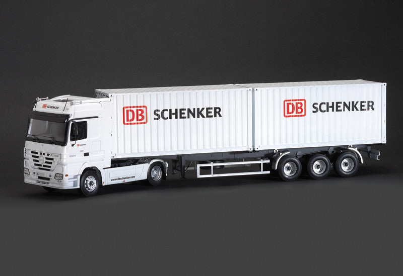 Italeri Model Cars 1/24 Mercedes Benz Actros Tractor Trailer w/2 DB Schenker 20' Containers Kit