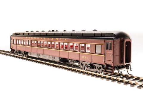Broadway Limited N PRR Class P70R Heavyweight Coach with Ice Air Conditioning 4-Pack - RTR - Pennsylvania Railroad (Tuscan, Black, Buff Lettering)