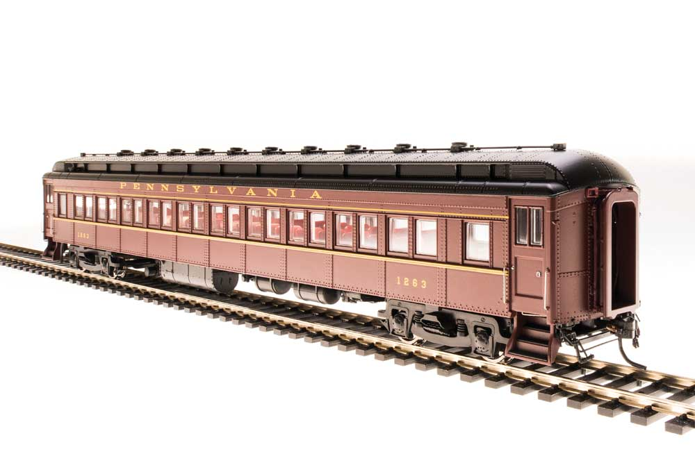 Broadway Limited N PRR Class P70 Heavyweight Coach, No Air Conditioning 4-Pack - RTR - Pennsylvania Railroad (Tuscan, Black, Buff Lettering)
