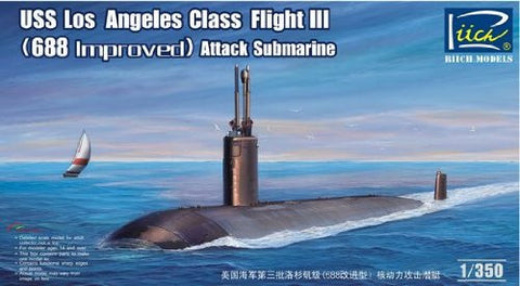 Riich Model Ships 1/350 USS Los Angeles Class Flight III (688 Improved) Attack Submarine Kit