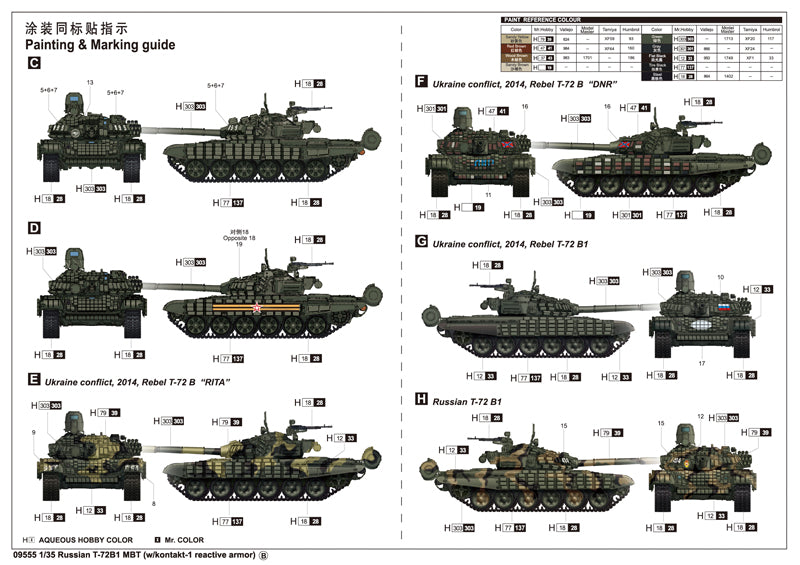 5661e04d33de Trumpeter Military Models 1 35 Russian T72B1 Main Battle Tank w Kontakt-1  Reactive Armor (New Variant) Kit