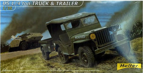 Heller Military 1/35 US 1/4-Ton Truck w/Trailer Kit