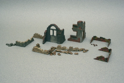Italeri Military 1/72 WWII Ruin Wall Sections & Sandbags Kit