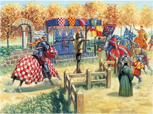 Italeri Military 1/72 XV Century: Medieval Jousting Challenge (17 Figs & 4 Horses) Set
