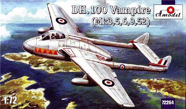 A Model From Russia 1/72 DH 100 Vampire Mk 3/5/6/9/52 Aircraft Kit