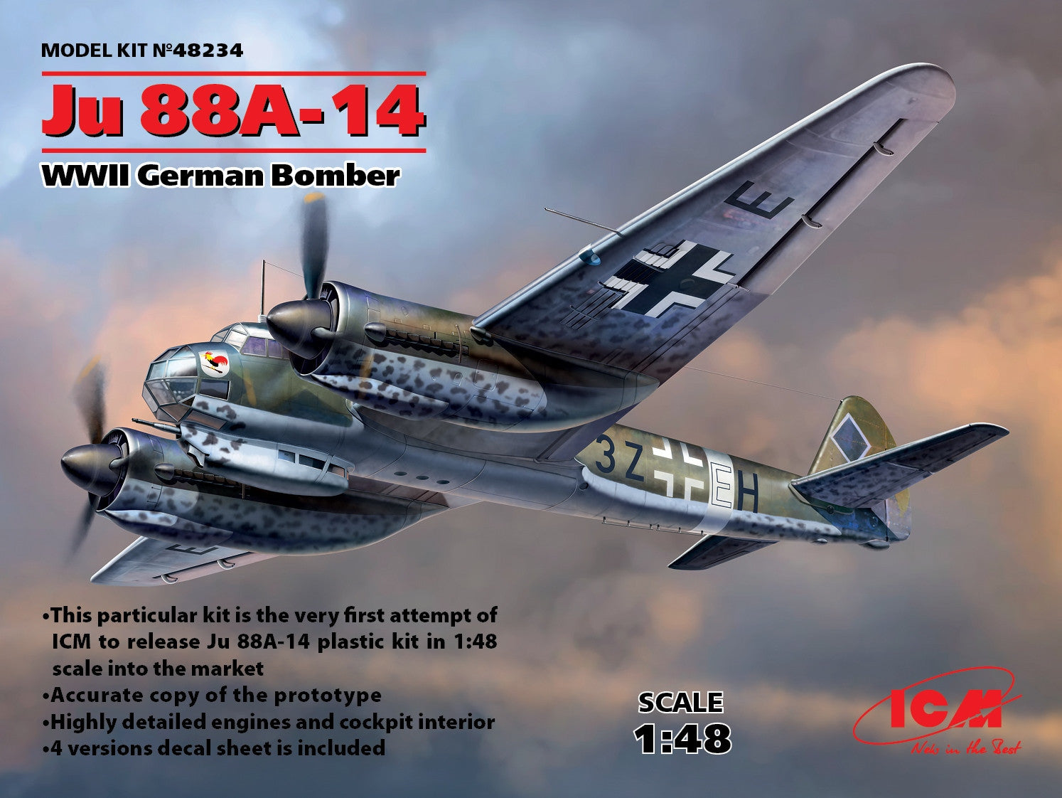 ICM Aircraft 1/48 WWII German Ju88A14 Bomber Kit