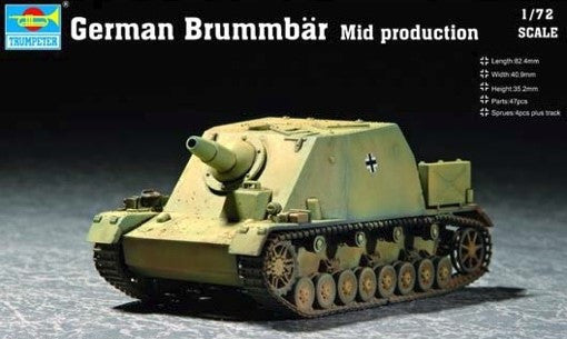 Trumpeter Military Models 1/72 German Brummbar Tank Mid Production Tank Kit