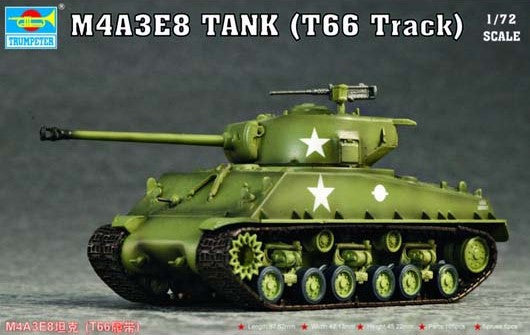 Trumpeter Military Models 1/72 M4A3E8 (Easy Eight) Tank w/T66 Tracks Kit