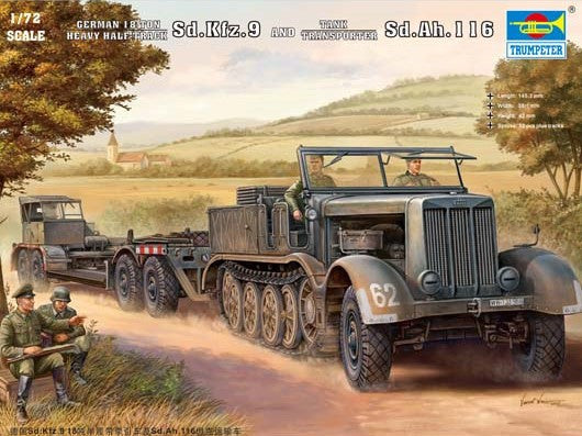 Trumpeter Military Models 1/72 German SdKfz 9 (18t) Halftrack w/SdAh116 Trailer Kit