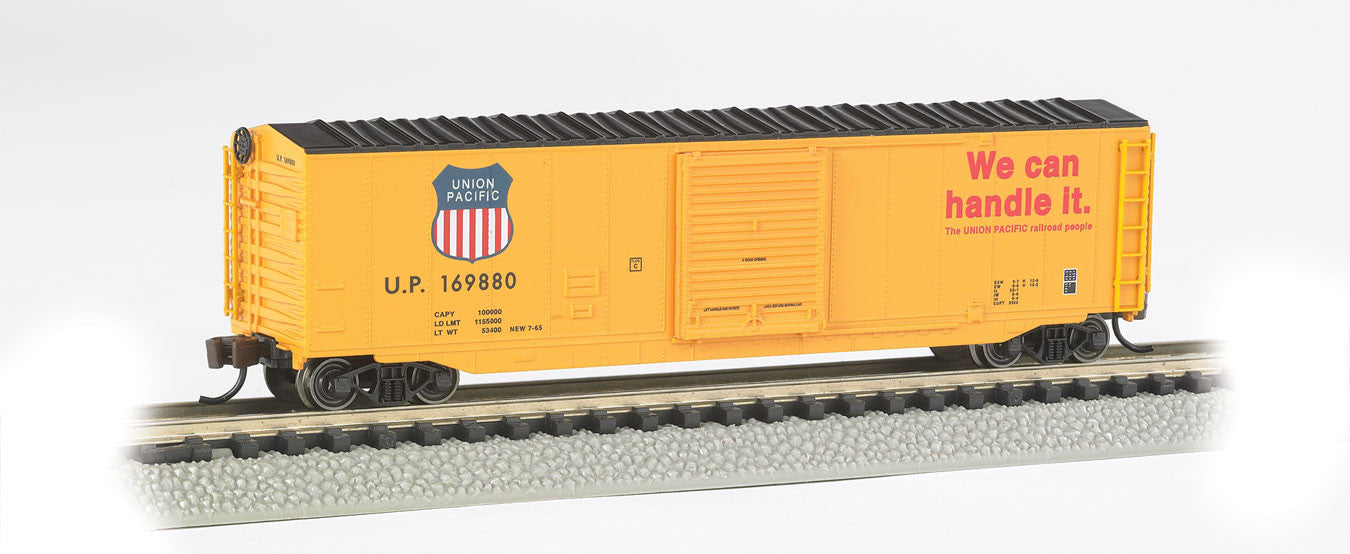 "Bachmann N 50' Sliding Door Box, Union Pacific #1148 (Armour Yellow, Black; ""We Can Handle It"" Slogan)"