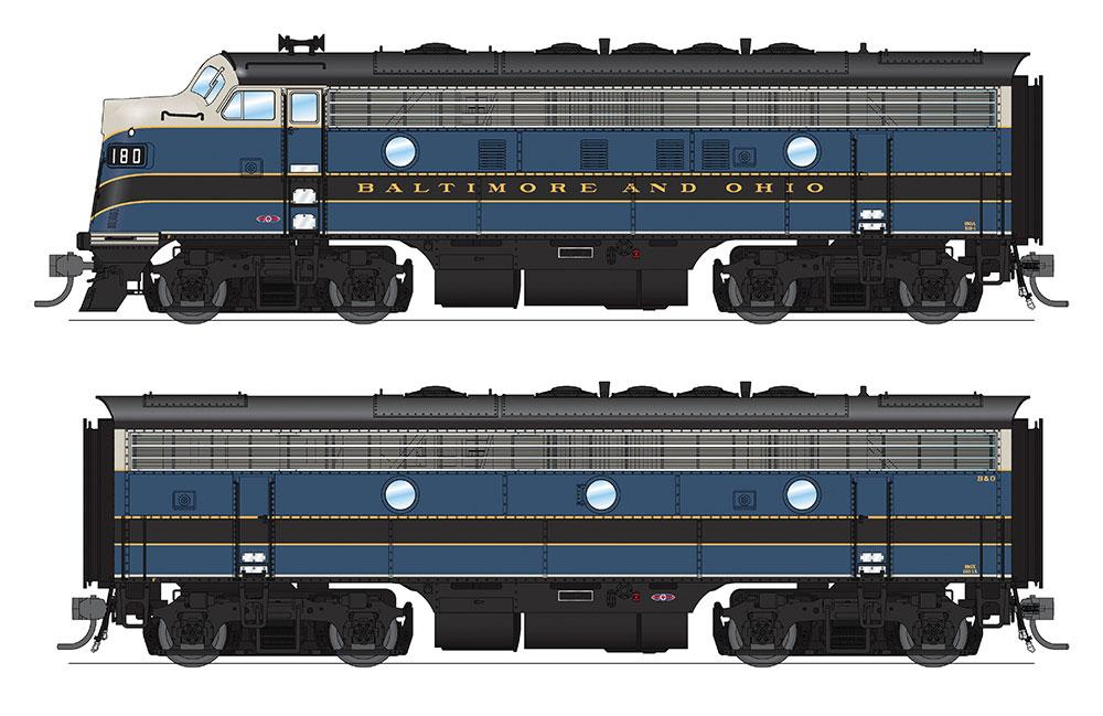 Broadway Limited HO EMD F7 A-B Phase I Set w/Sound & DCC - Paragon3 Broadway - Baltimore & Ohio #180A, 180X (Blue, Gray, Black)