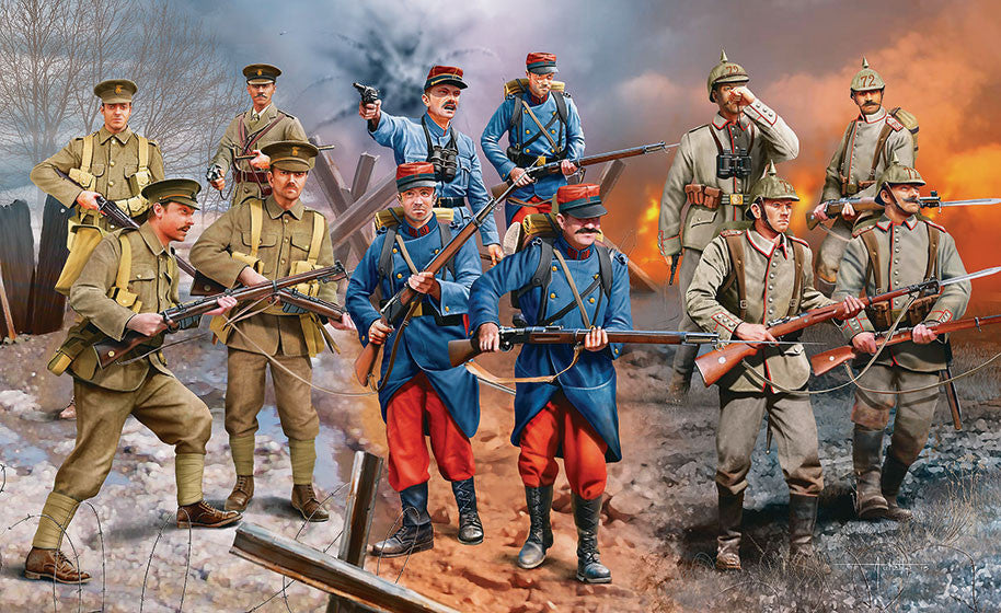 Revell Germany Military 1/35 WWI German/British/French Infantry 1914 (12) Kit