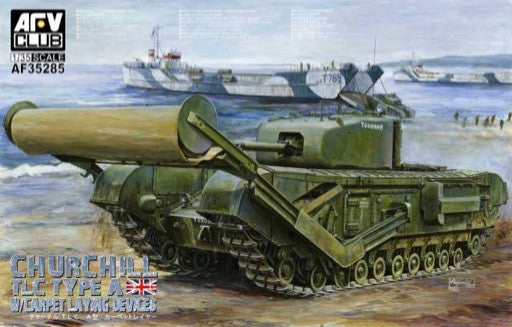 AFV Club Military 1/35 Churchill TLC (Tank Landing Craft) Type A Tank w/Carpet Laying Devices Kit