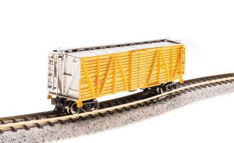 Broadway Limited N PRR K7 Stock Car with Chicken Sounds - Ready to Run - Union Pacific (Armour Yellow, Silver)