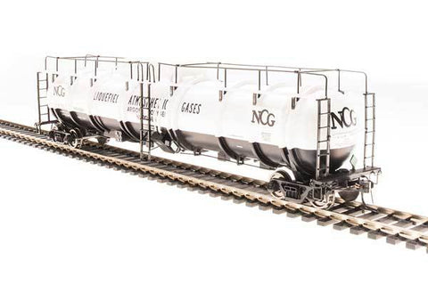 Broadway Limited N High-Capacity Cryogenic Tank Car 2-Pack - RTR - NCG (White, Black)