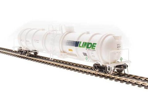 Broadway Limited N High-Capacity Cryogenic Tank Car 2-Pack - RTR - Linde (White, Blue, Green)