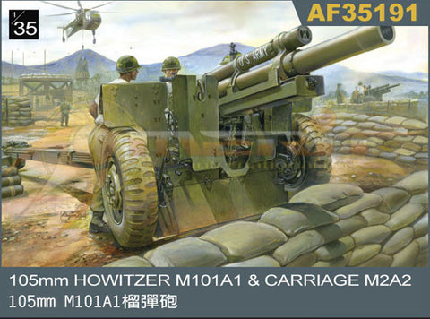AFV Club Military 1/35 105mm Howitzer M101A1 Gun w/M2A2 Carriage Kit