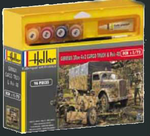 Heller Military 1/72 German 3-Ton 4x2 Cargo Truck & Pak 40 Gun w/Paint & Glue Kit