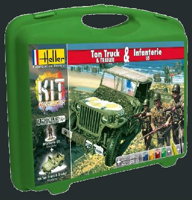 Heller Military 1/72 1/4-Ton Truck, Trailer & US Infantry w/Paint & Glue Kit