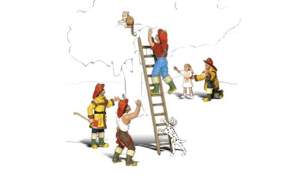 Woodland Scenics HO Scenic Accents To the Rescue (4 Firemen, Girl, Dog & Cat)