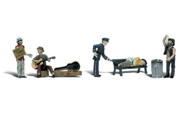 Woodland Scenics HO Scenic Accents Park Bums & Police Officer (5)