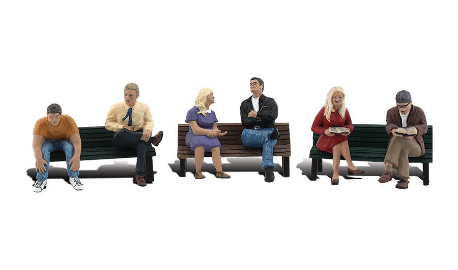 Woodland Scenics HO Scenic Accents People on Benches (6 Figures & 3 Benches)